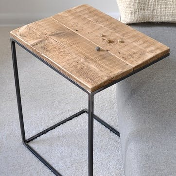 Reclaimed Wood And Steel Side Table - 55 x 45cm; Natural
