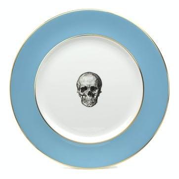 Rock and Roll Skull Dinner Plate, Retro Blue