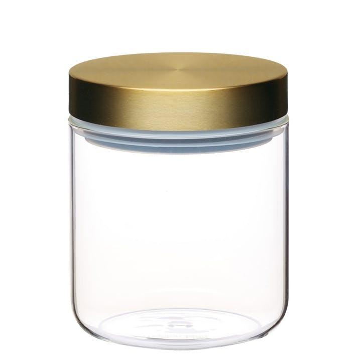 Metallics Airtight Small Glass Food Storage Jar with Brass Lid