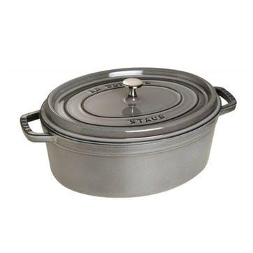 Cast Iron Oval Cocotte, Graphite Grey