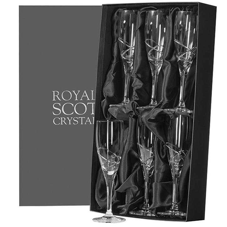 Skye Crystal Champagne Flutes, Set of 6