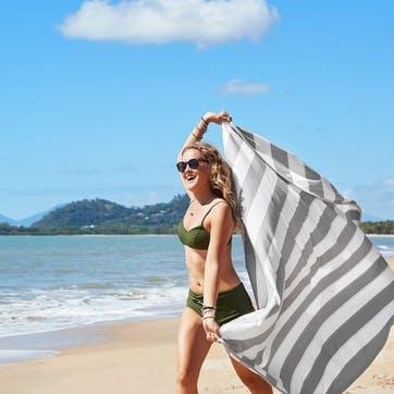 Round Beach Towel; Goa Grey