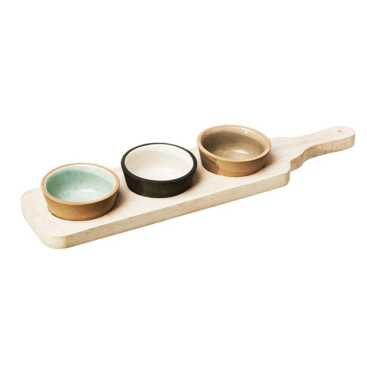 Stoneware and Mango Wood Bowl & Paddle