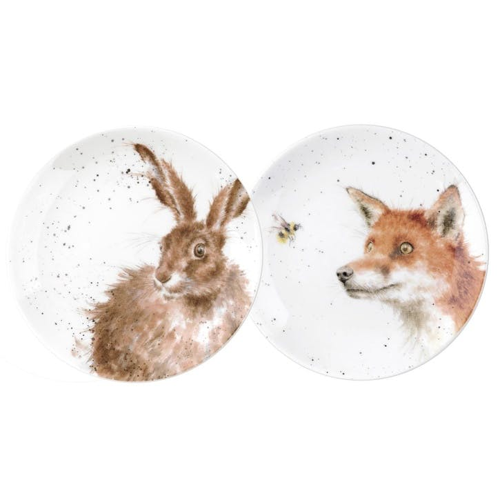 Wrendale Coupe Plates, Set of 2 - 6.5 Inch; Fox and Hare