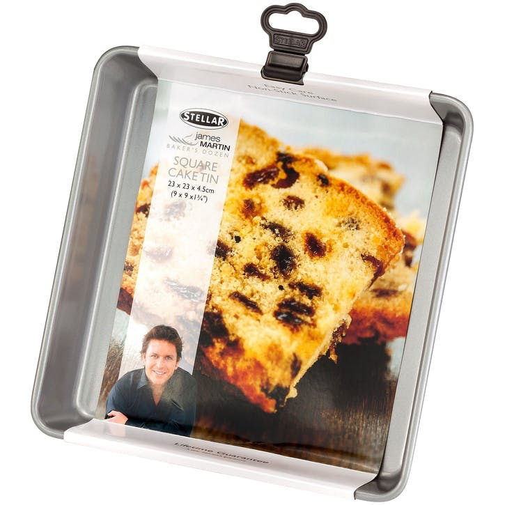 James Martin Bakers Dozen Square Cake Tin, 23 x 23 x 4.5cm