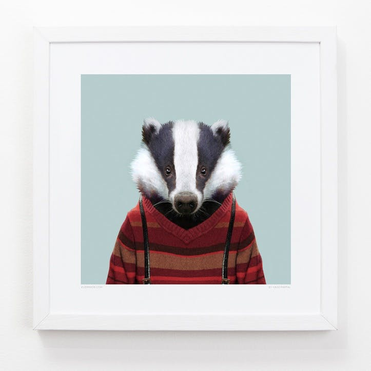 Zoo Portrait Print Badger, 33cm x 33cm