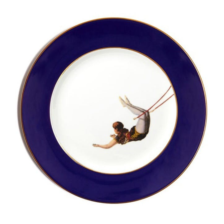 Acts Of Daring Trapeze Girl Dinner Plate, Cobalt Blue