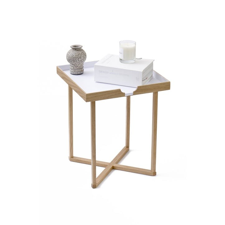 Damien Square Side Table, White