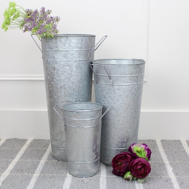 Set of 3 Metal Florist Buckets