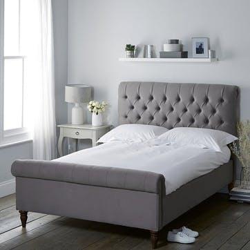 Aldwych Cotton Scroll Bed, King, Grey