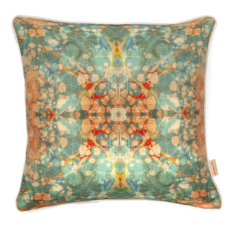 Fantasy Tapestry Kaleidoscope, Square Linen Cushion, H49 x W49cm