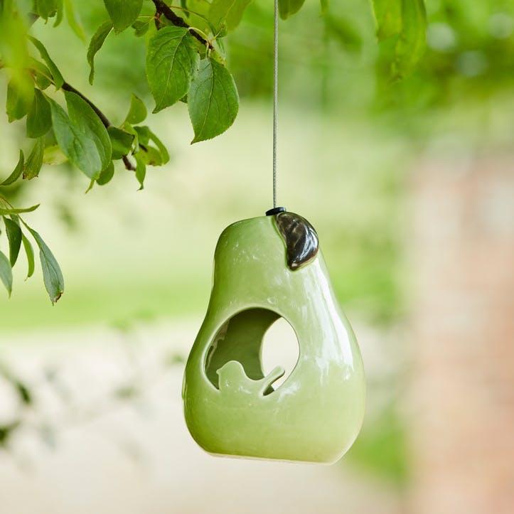 Ceramic Bird Feeder, Pear