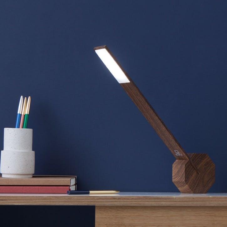 Octagon One Desk Lamp, 38cm, Walnut