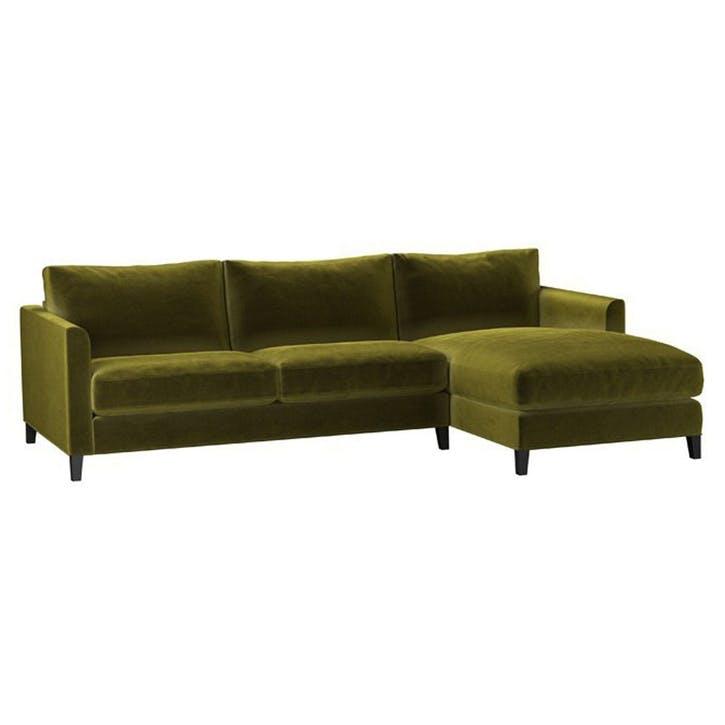 The Izzy, Medium Right Hand Chaise,  Olive Pure Cotton Matt Velvet