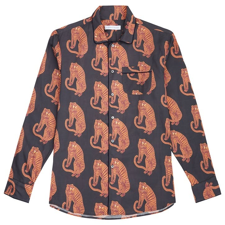 Tiger Collared Pyjama Shirt, Extra Large