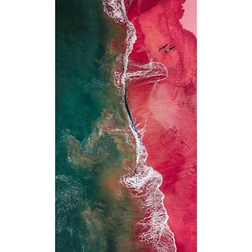 Aerial View Of Sea Waves At Shore ChromaLuxe Metal Print, H51 x W41cm, Multi