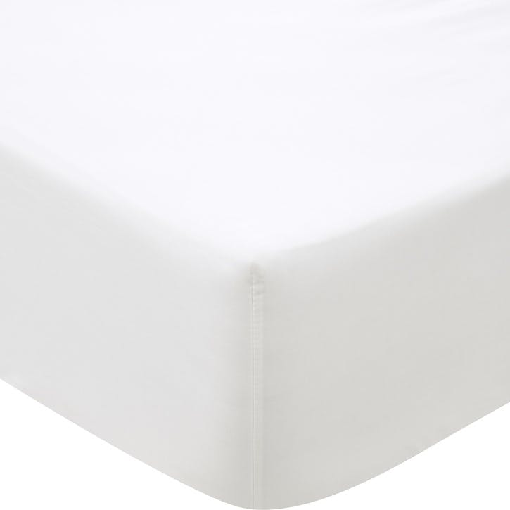 500TC Cotton Sateen Fitted Sheet, Super King, Snow