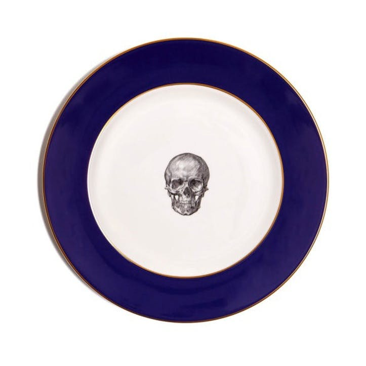 Rock and Roll Skull Dinner Plate, Cobalt Blue