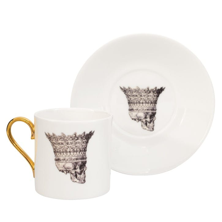 Rock and Roll Skull in Crown Espresso Cup & Saucer