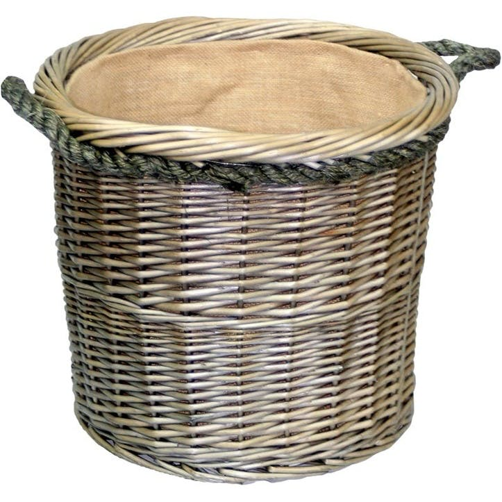 Antique Wash Round Rope Handled Log Basket, Medium