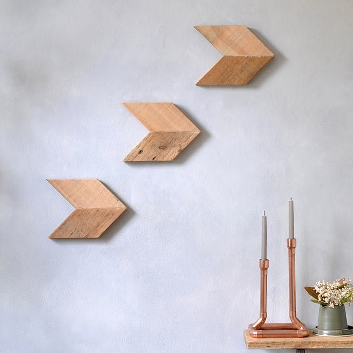 Reclaimed Wood Arrow Wall Art Set - 70 x 49cm; Natural
