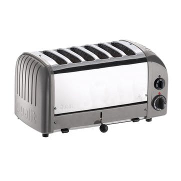 Classic Vario 6 Slot Toaster, Metallic Silver