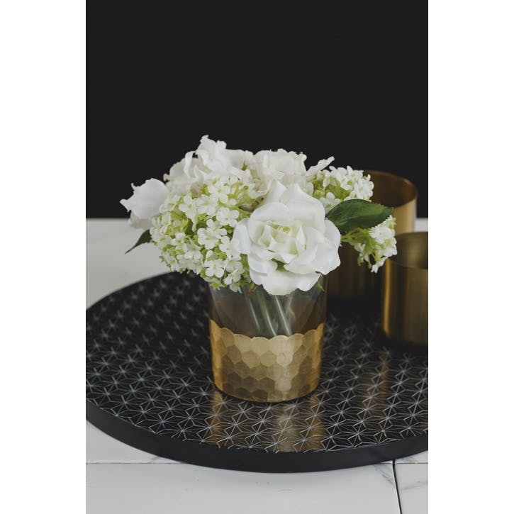 Gold Luxe Hydrangea & Snowball Cutting in Honeycomb Glass Vase