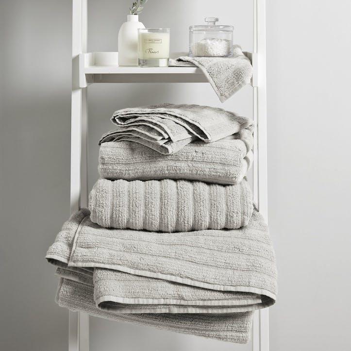 Hydrocotton Ribbed Towel, Hand Towel, Pearl Grey