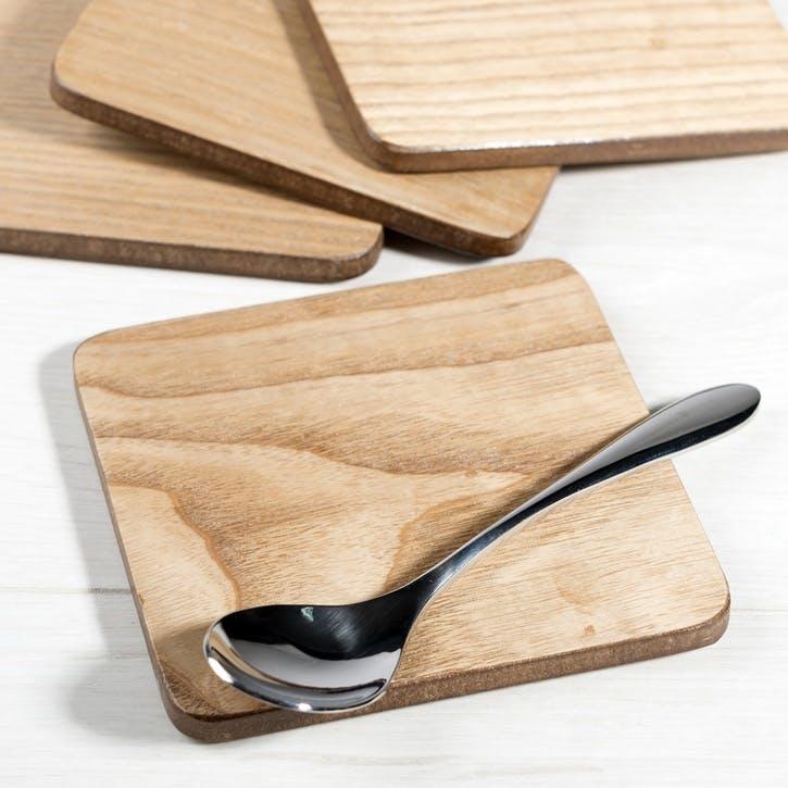 Naturals Oak Veneer Coasters, Set of 4
