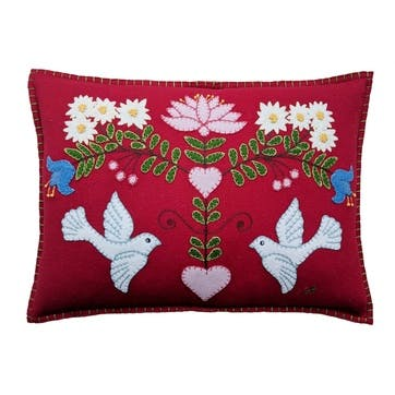 Alpine Doves Cushion, 48 x 35cm, Red