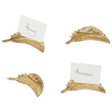 Feather Name Card Holders, Set of 4
