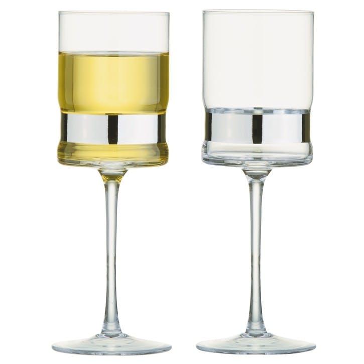 SoHo Silver Wine Glasses, Set of 2