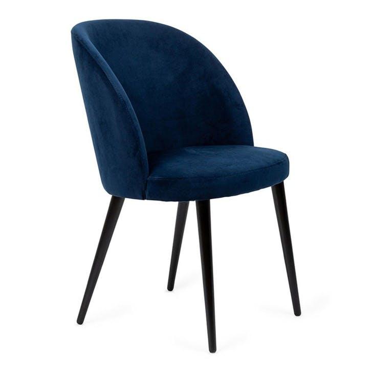 Austen Dining Chair Plush Velvet Indigo Black Leg