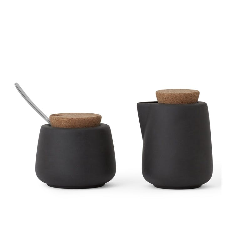 Nicola Milk & Sugar Pot Set, Charcoal