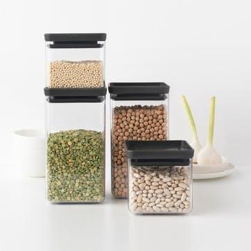 Tasty+ Stackable Square Canisters, Set of 4, Light Black Lids