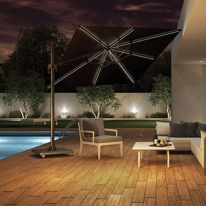 Glow Challenger T2 Square Parasol - 3m, Anthracite