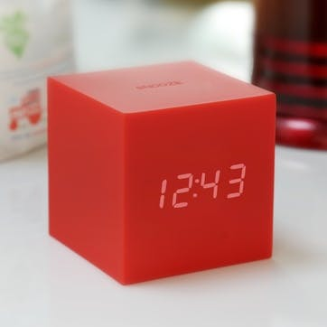 Gravity Cube Click Clock, 7.5cm, Red