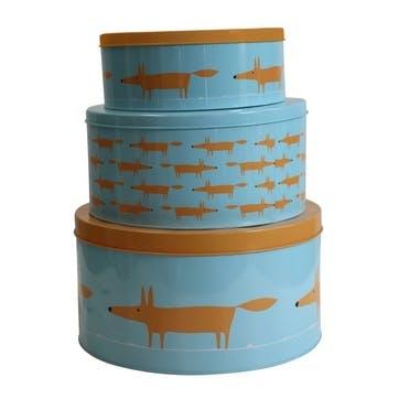 Mr Fox Cake Tins, Set of 3, Blue