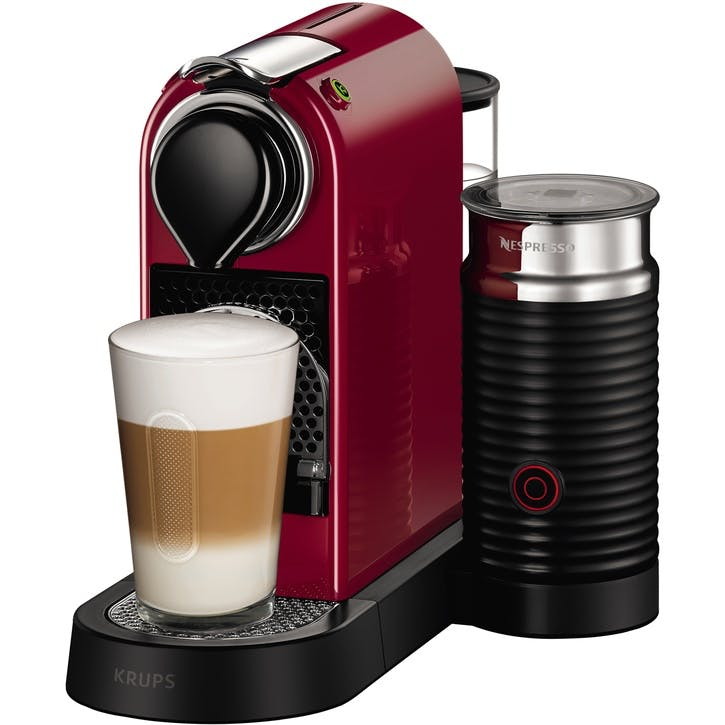 CitiZ Coffee Machine with Milk Frother, Cherry Red