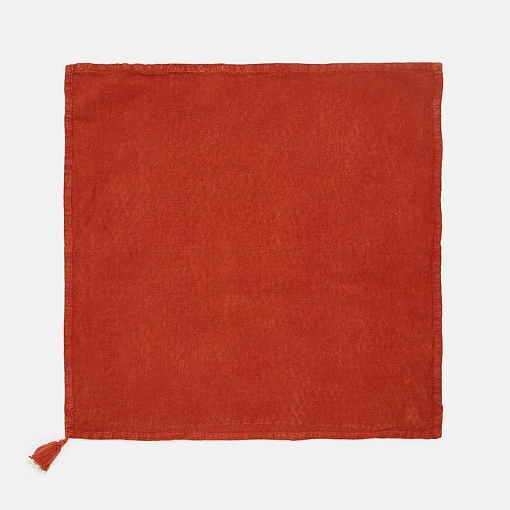 Rosa Linen, Set of 4 Napkins, Rust