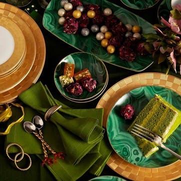 Malachite Dessert Plates, Set of 4