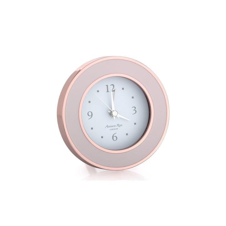 Alarm Clock; Rose Gold & Pink Enamel