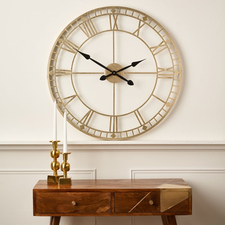 Metal Skeleton Clock, Antique Gold