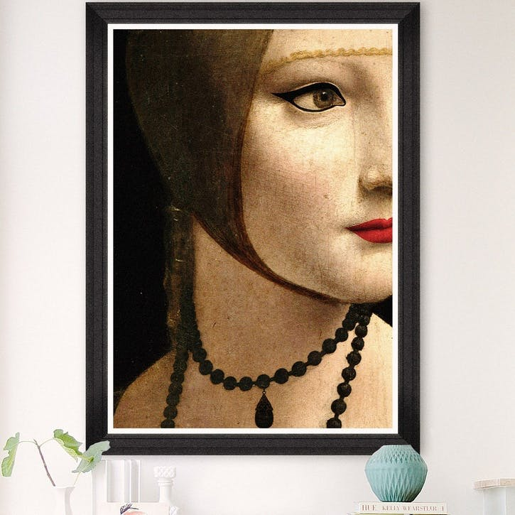 Renascentist portrait detail I Black Framed Print, 70 x 100cm