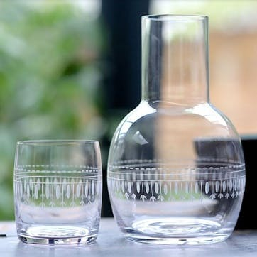 Oval Patterned Crystal Carafe & Glass Set