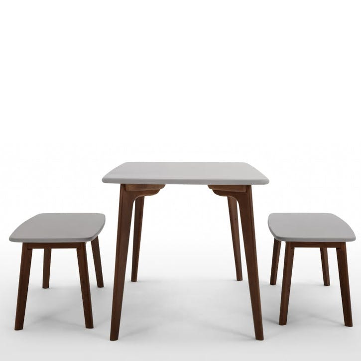 Fjord Bench and Dining Table Set; Dark Stain Oak/ Grey