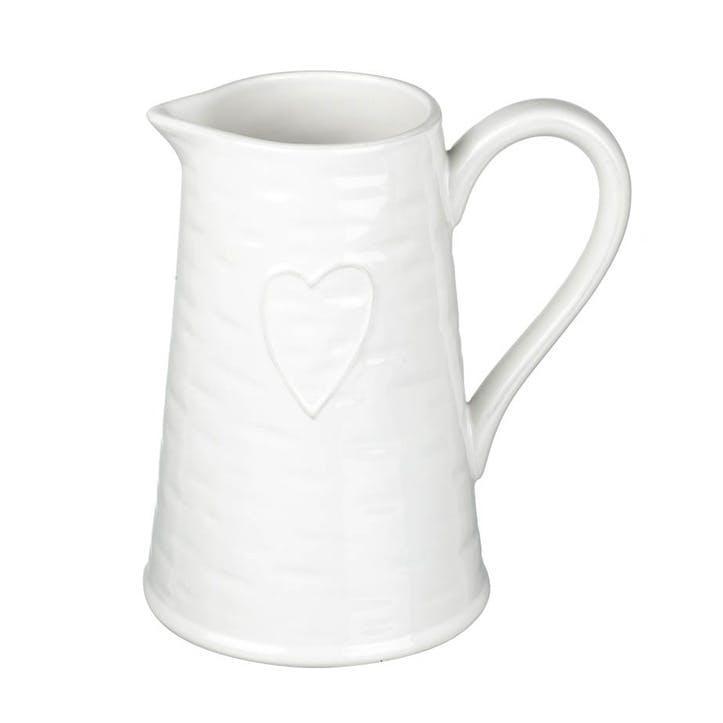 Love Earthenware Jug, White