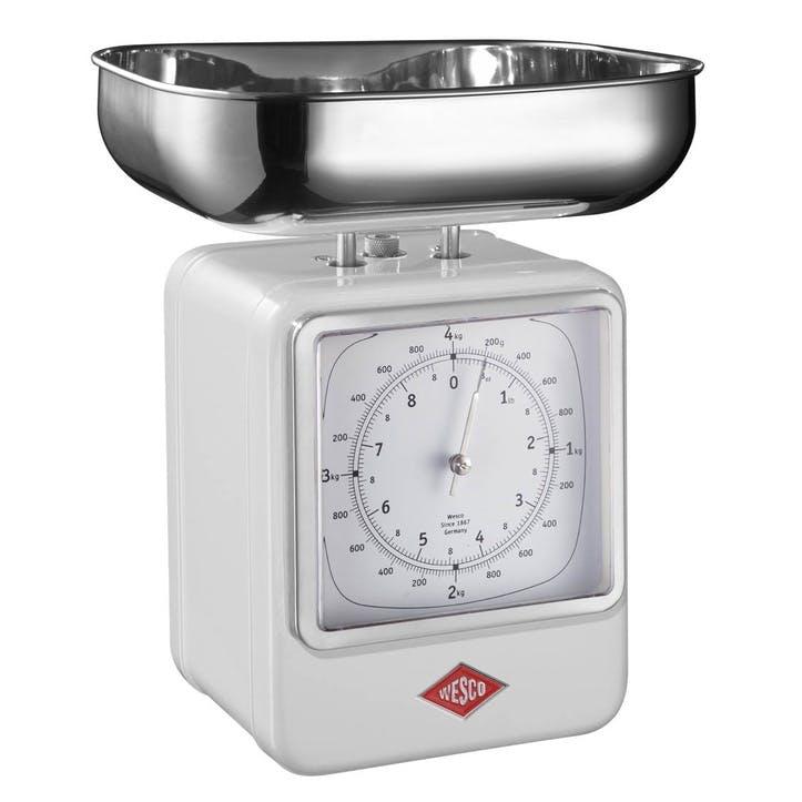 Retro Scale with Clock, White