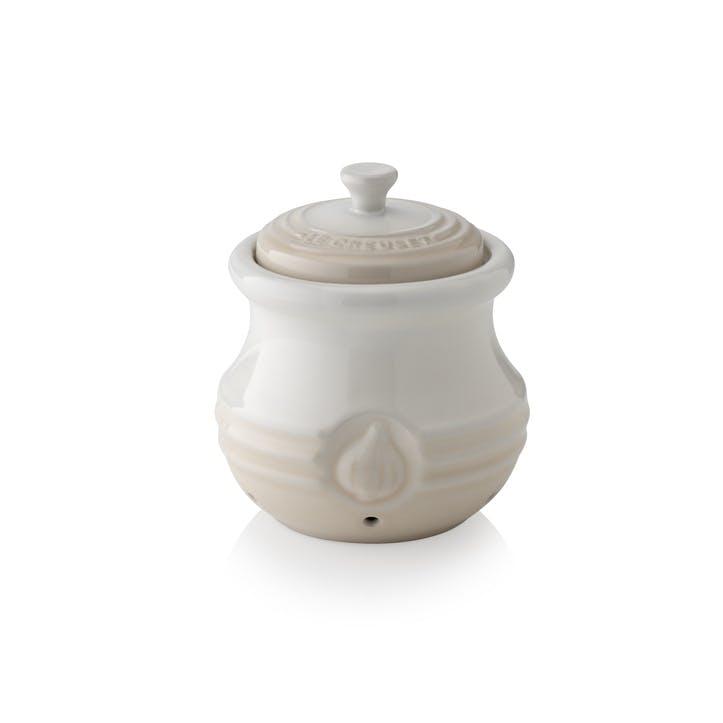 Stoneware Garlic Keeper, Meringue