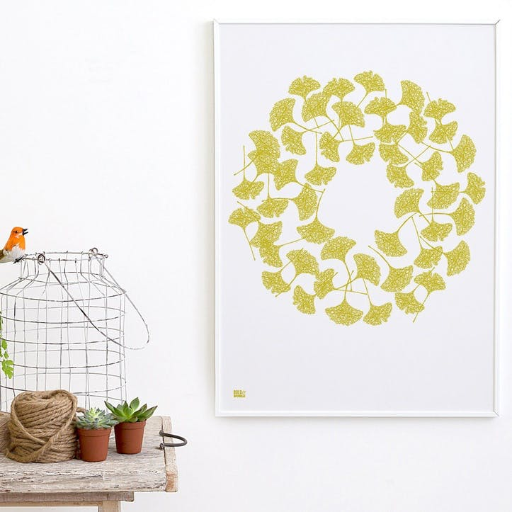 Ginkgo Screen Print, 50cm x 70cm, Yellow Moss